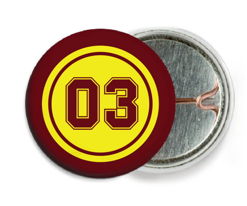 custom pin back buttons - yellow & maroon - basketball (set of 6)