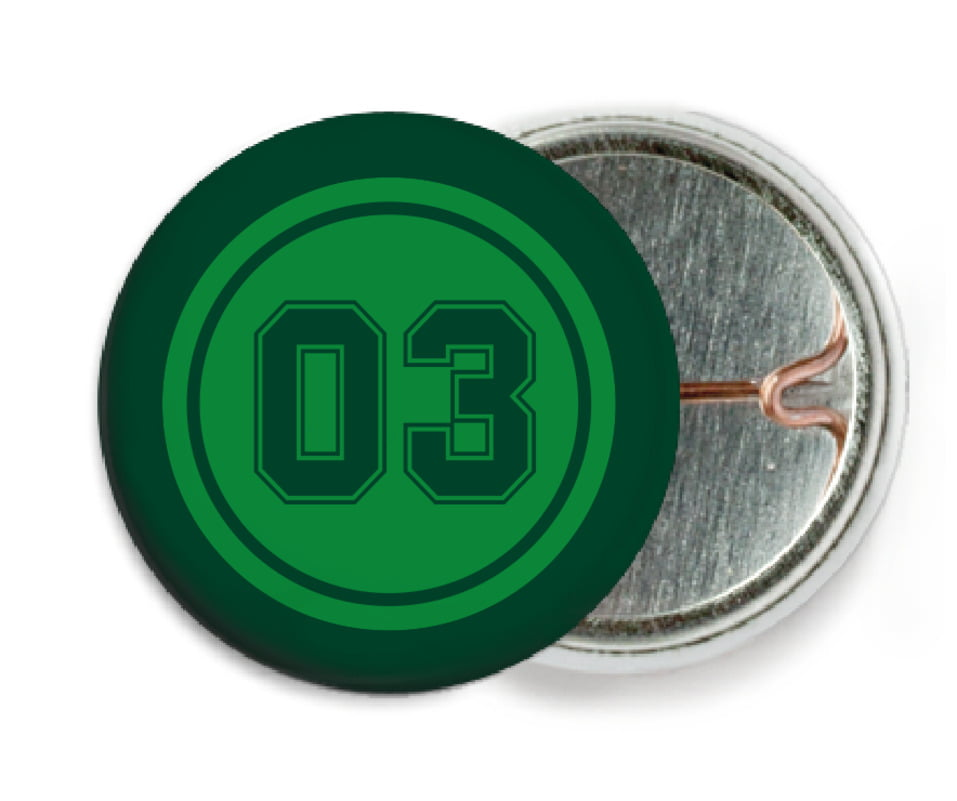 custom pin back buttons - green & forest - basketball (set of 6)