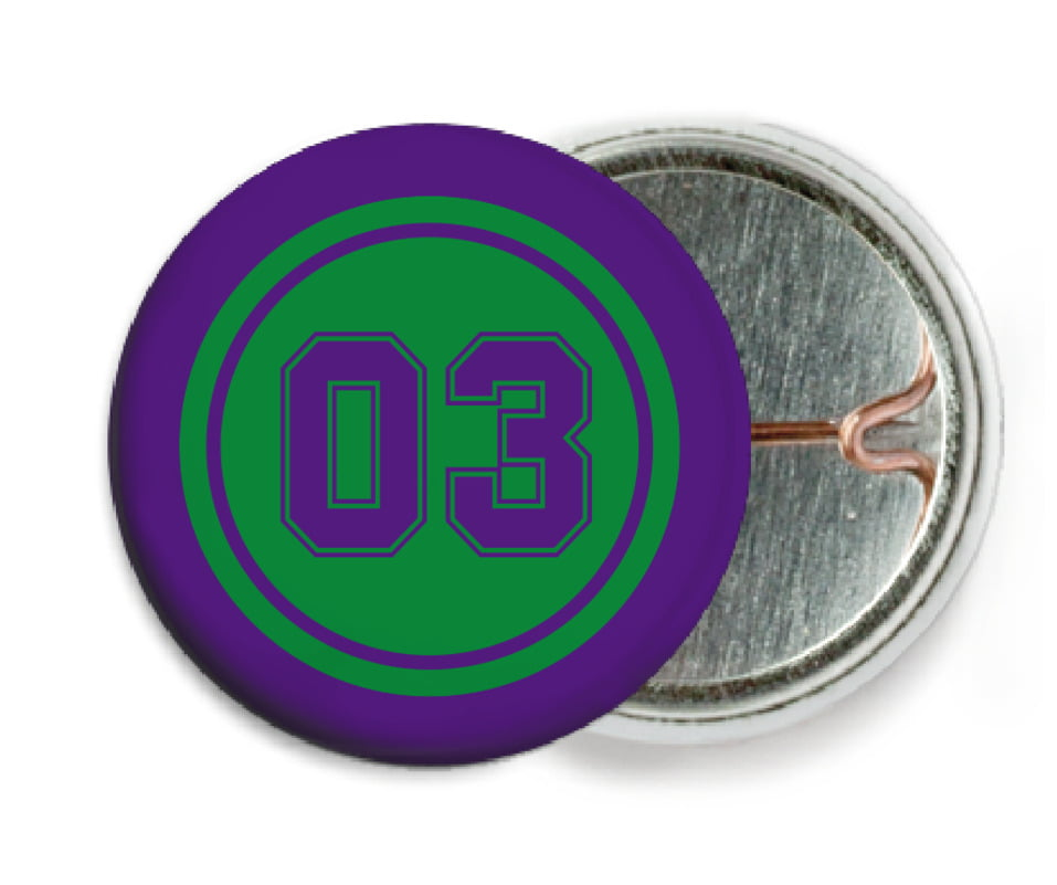 custom pin back buttons - green & purple - basketball (set of 6)