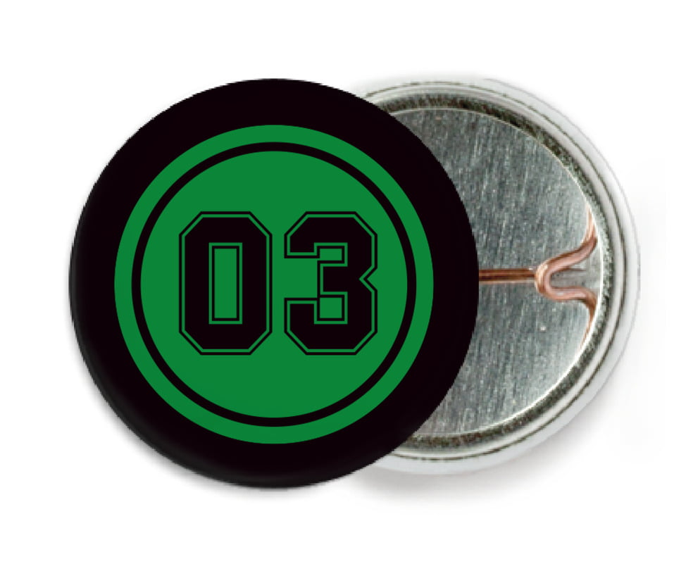 custom pin back buttons - green & black - basketball (set of 6)