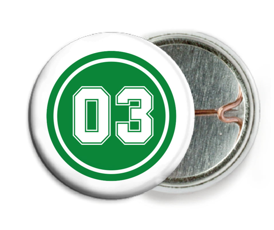 custom pin back buttons - green & white - basketball (set of 6)
