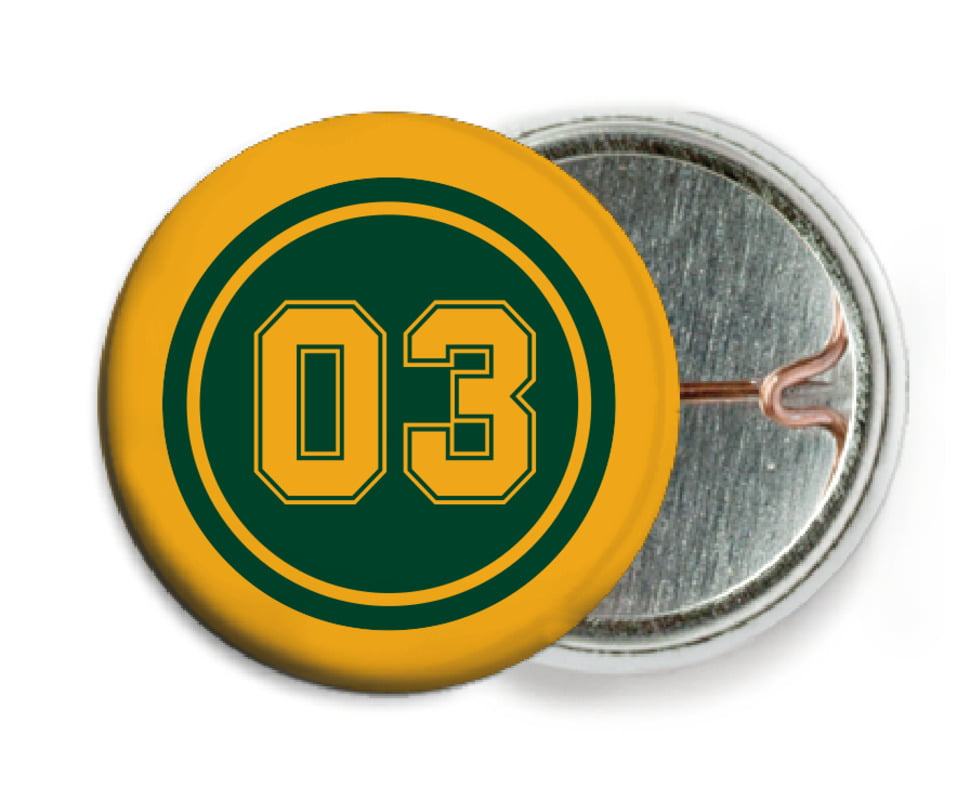 custom pin back buttons - forest & gold - basketball (set of 6)