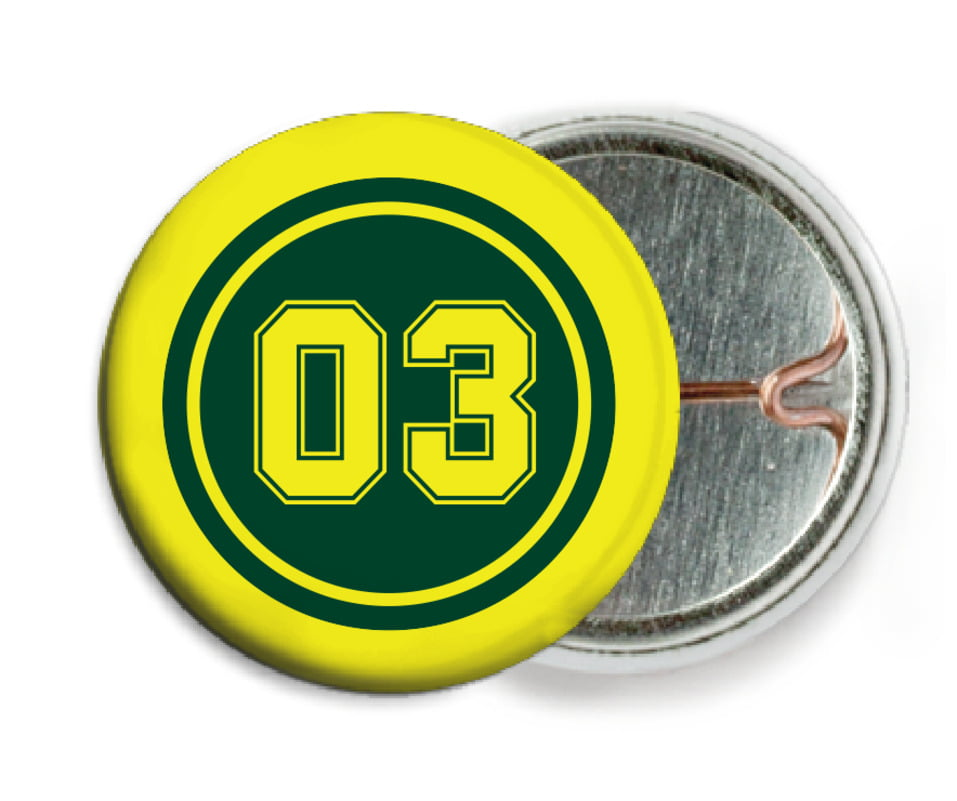 custom pin back buttons - forest & yellow - basketball (set of 6)