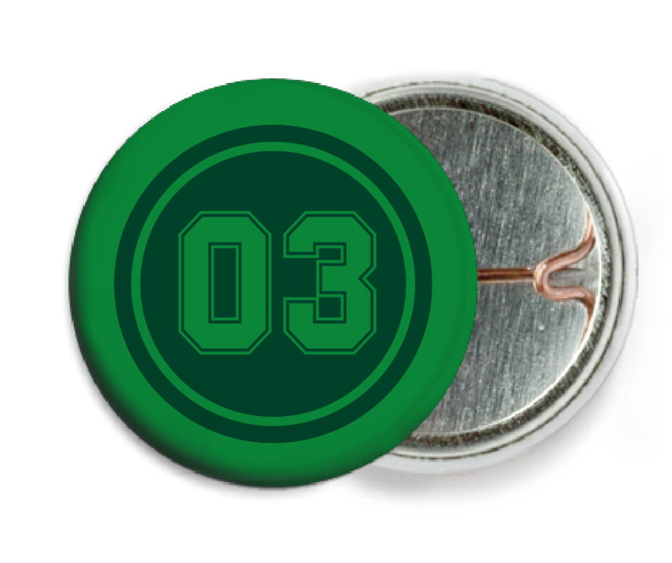 custom pin back buttons - forest & green - basketball (set of 6)