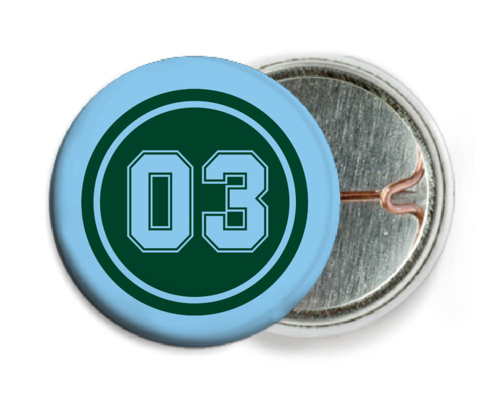 custom pin back buttons - forest & light blue - basketball (set of 6)