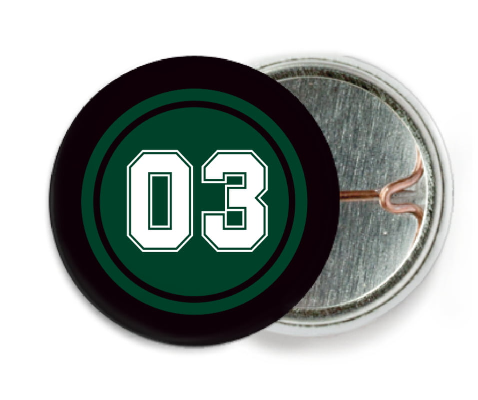 custom pin back buttons - forest & black - basketball (set of 6)