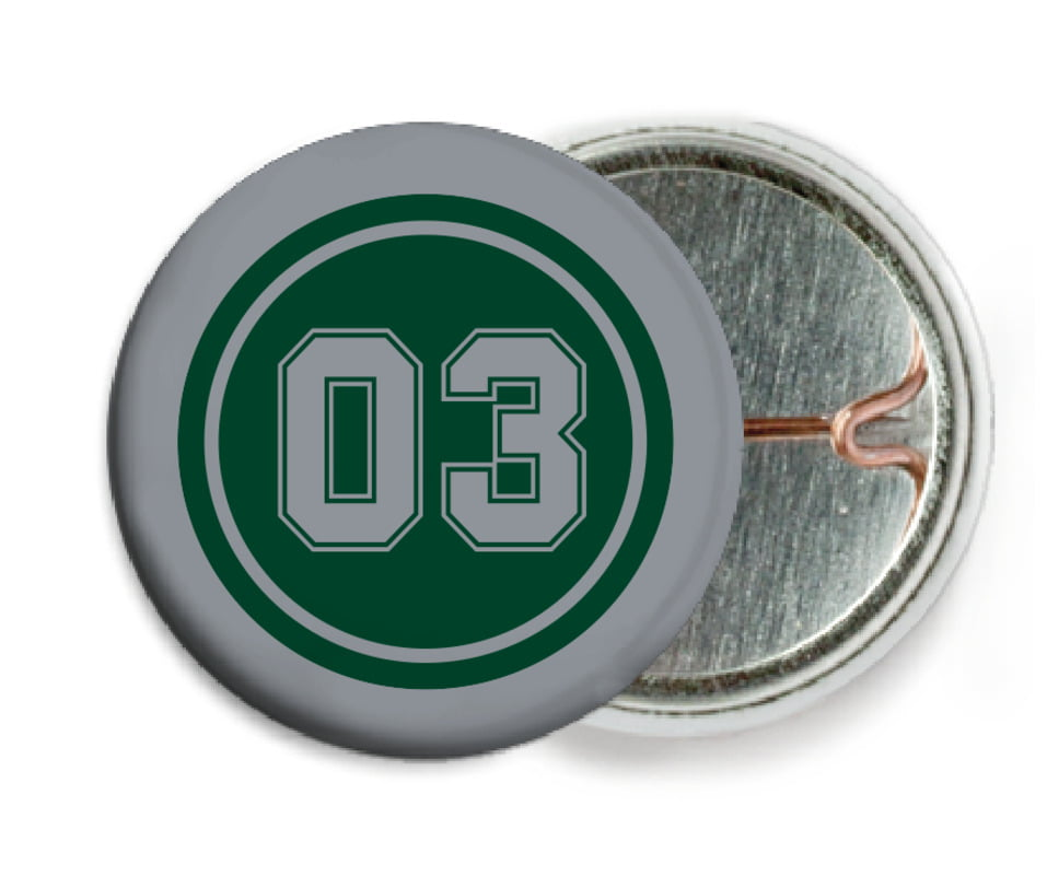 custom pin back buttons - forest & silver - basketball (set of 6)