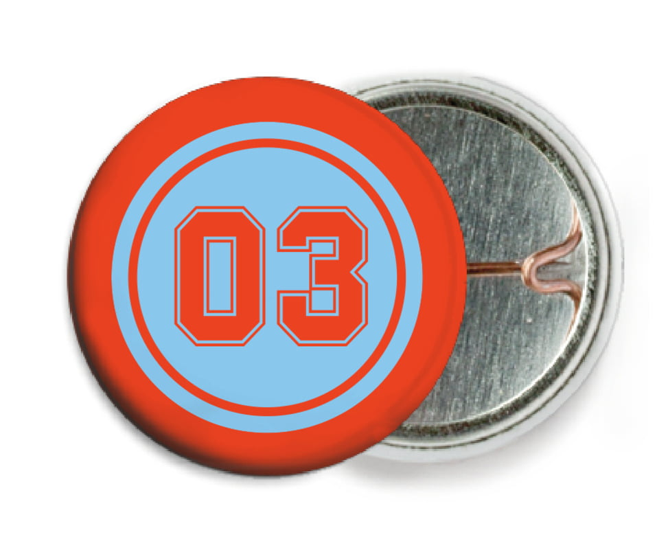 custom pin back buttons - light blue & orange - basketball (set of 6)
