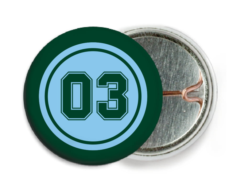 custom pin back buttons - light blue & forest - basketball (set of 6)