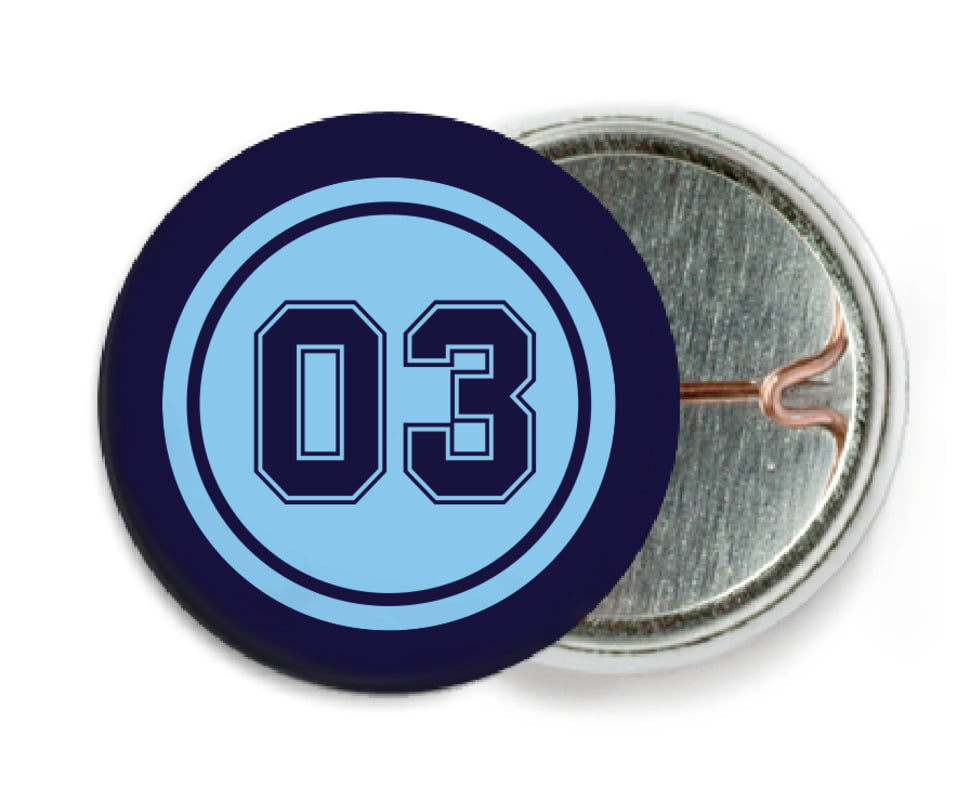 custom pin back buttons - light blue & navy - basketball (set of 6)
