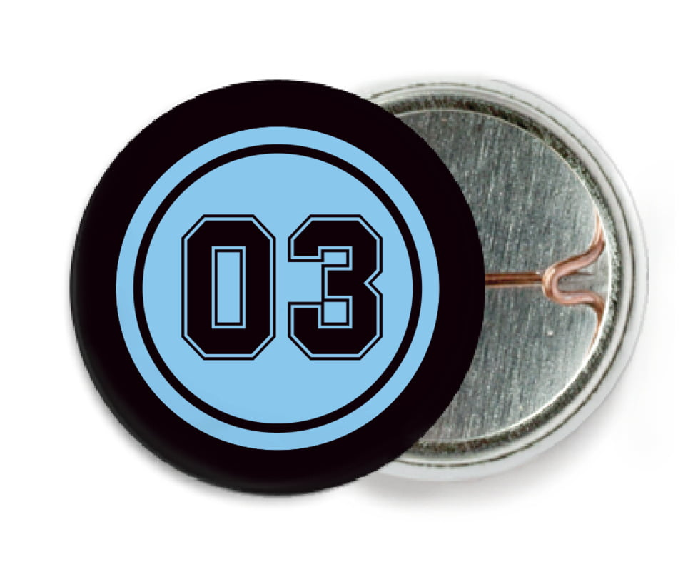custom pin back buttons - light blue & black - basketball (set of 6)