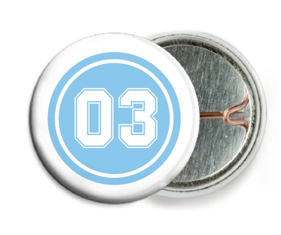 custom pin back buttons - light blue & white - basketball (set of 6)