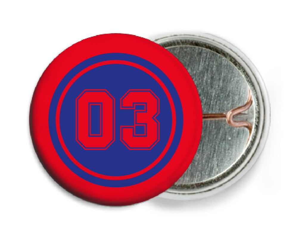custom pin back buttons - royal & red - basketball (set of 6)