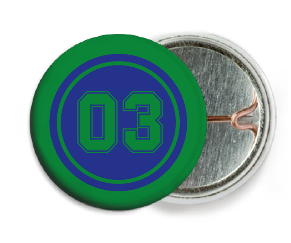 custom pin back buttons - royal & green - basketball (set of 6)
