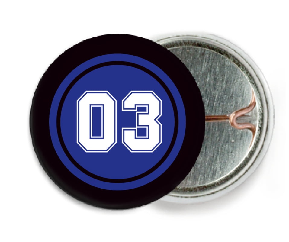 custom pin back buttons - royal & black - basketball (set of 6)