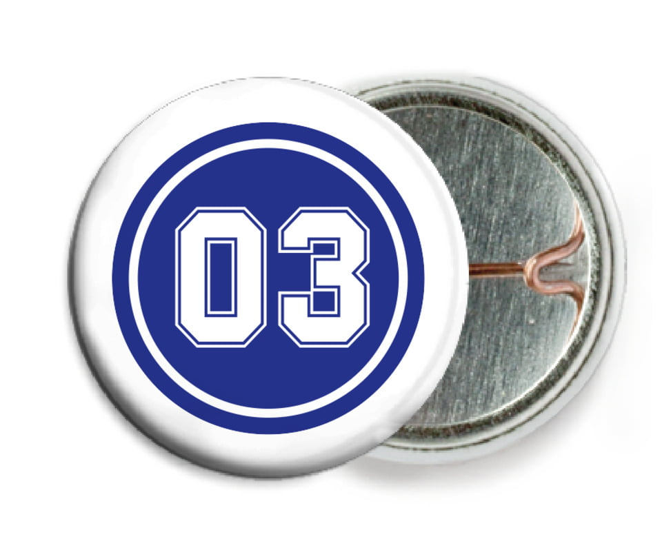 custom pin back buttons - royal & white - basketball (set of 6)