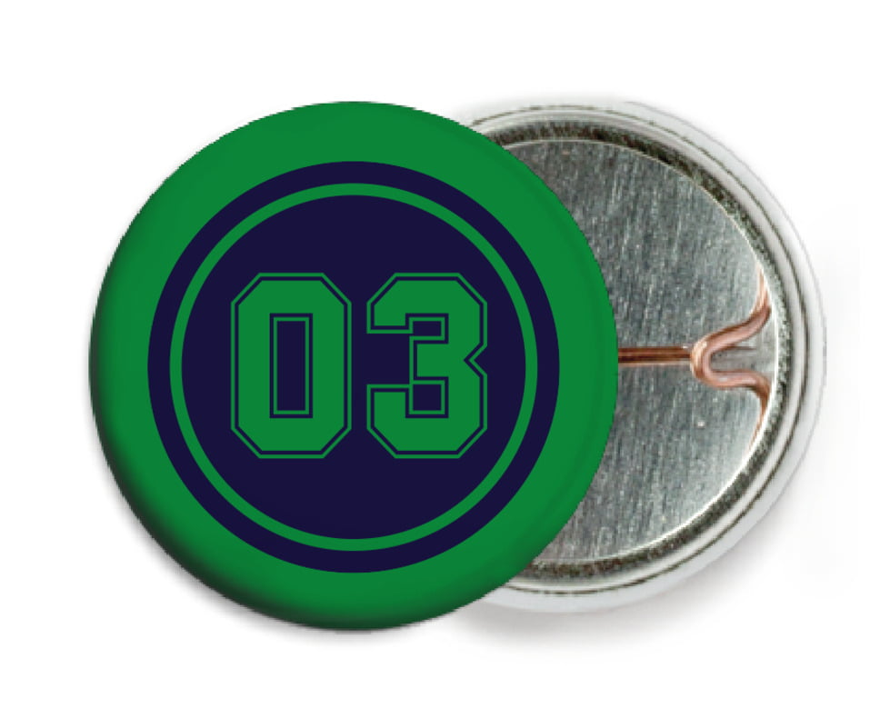 custom pin back buttons - navy & green - basketball (set of 6)