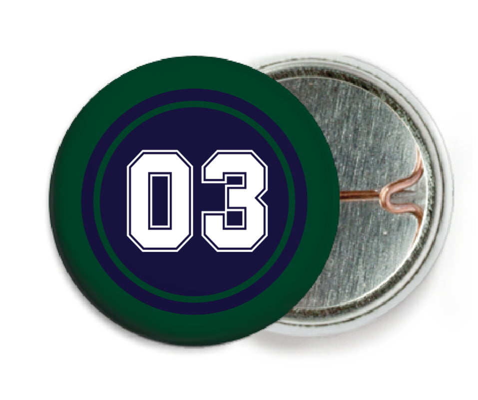 custom pin back buttons - navy & forest - basketball (set of 6)