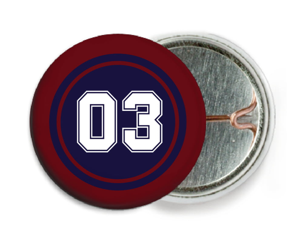 custom pin back buttons - navy & maroon - basketball (set of 6)