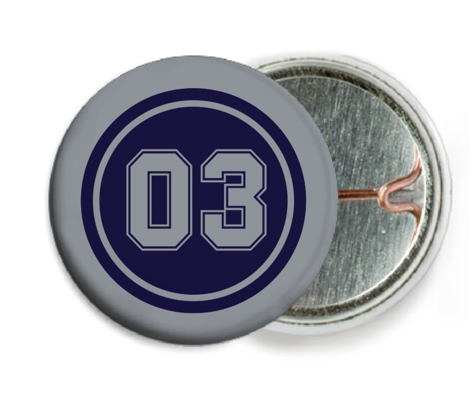 custom pin back buttons - navy & silver - basketball (set of 6)