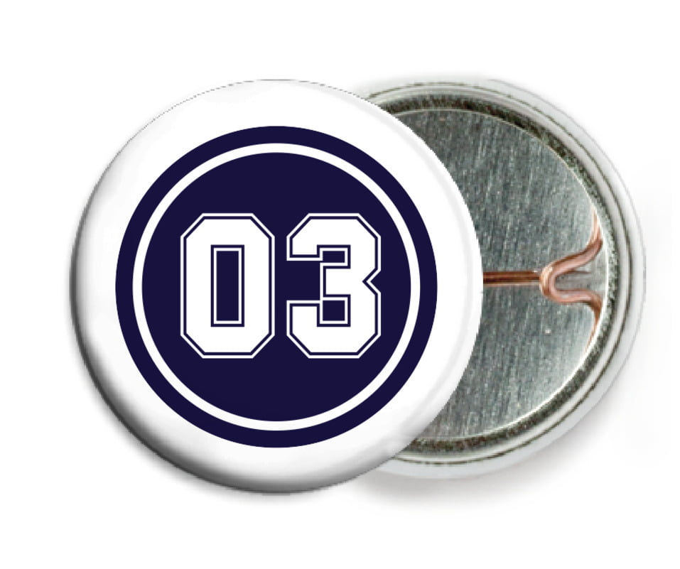 custom pin back buttons - navy & white - basketball (set of 6)