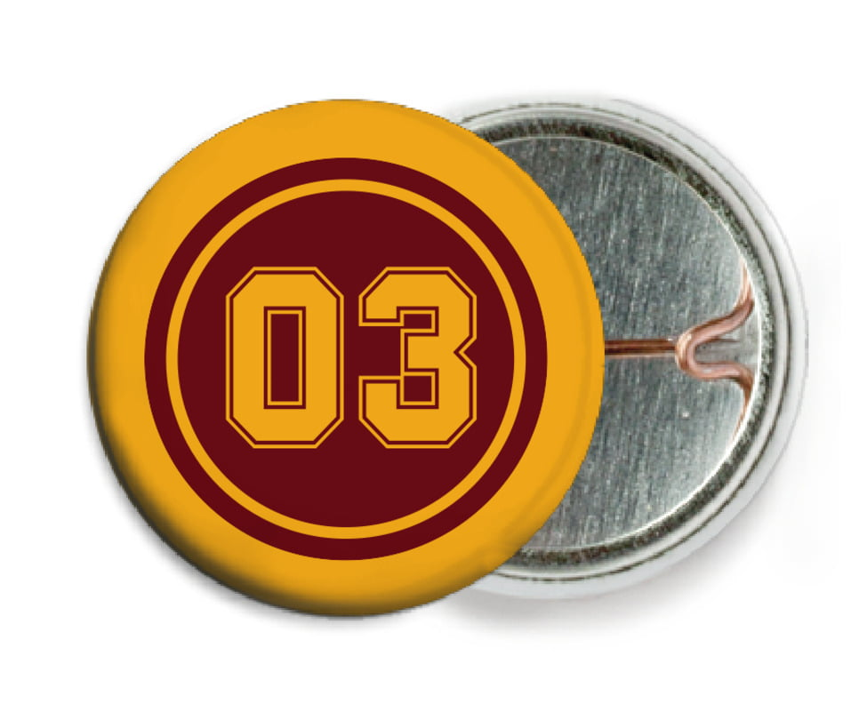 custom pin back buttons - maroon & gold - basketball (set of 6)