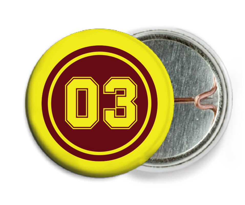 custom pin back buttons - maroon & yellow - basketball (set of 6)