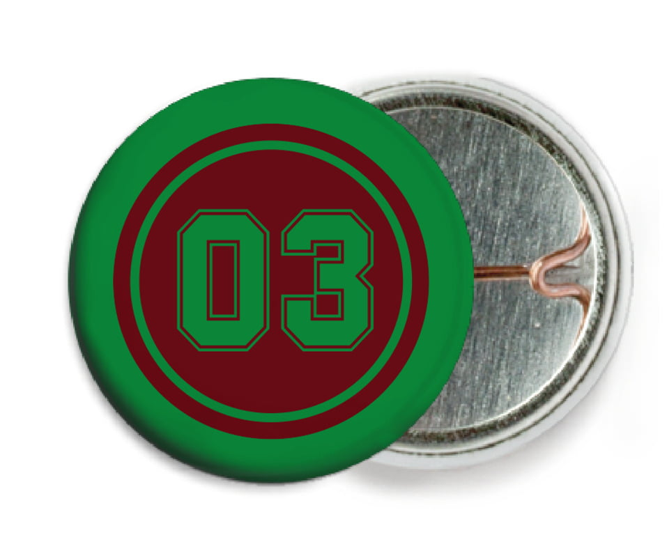 custom pin back buttons - maroon & green - basketball (set of 6)