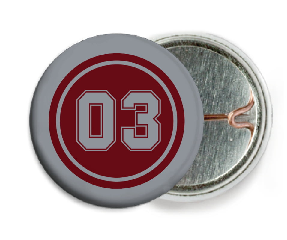 custom pin back buttons - maroon & silver - basketball (set of 6)