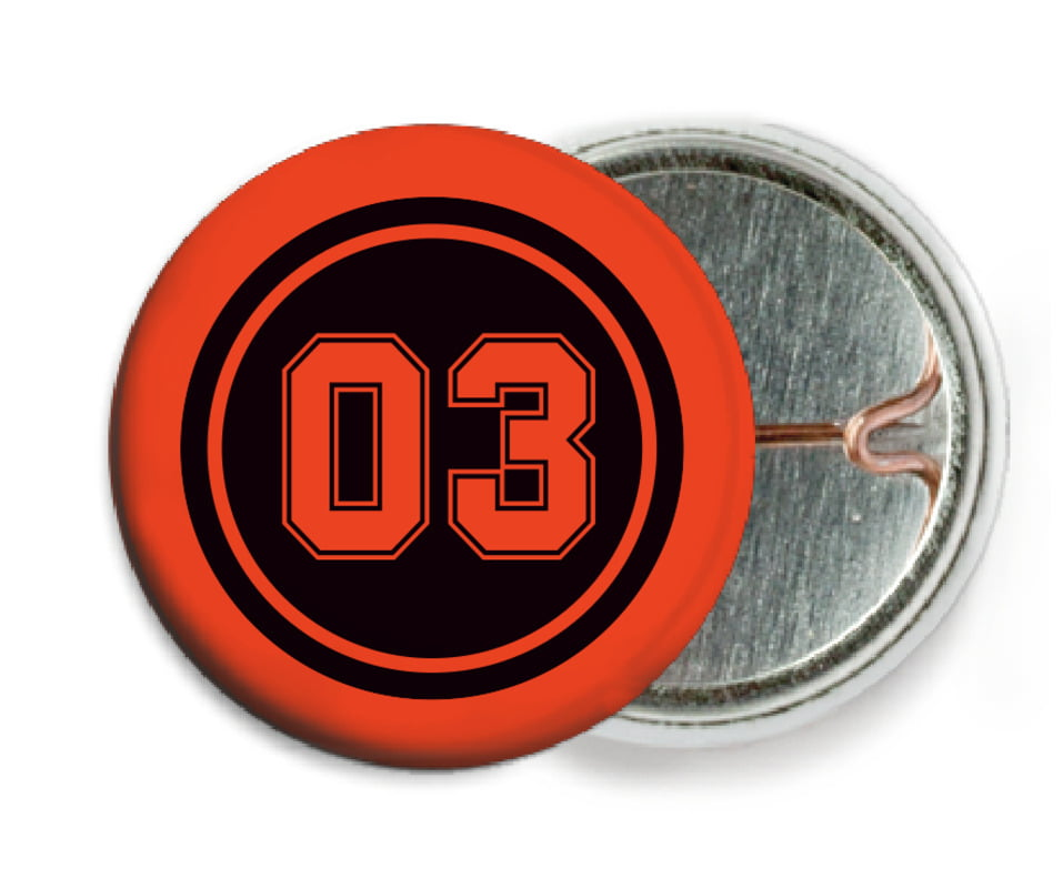 custom pin back buttons - black & orange - basketball (set of 6)