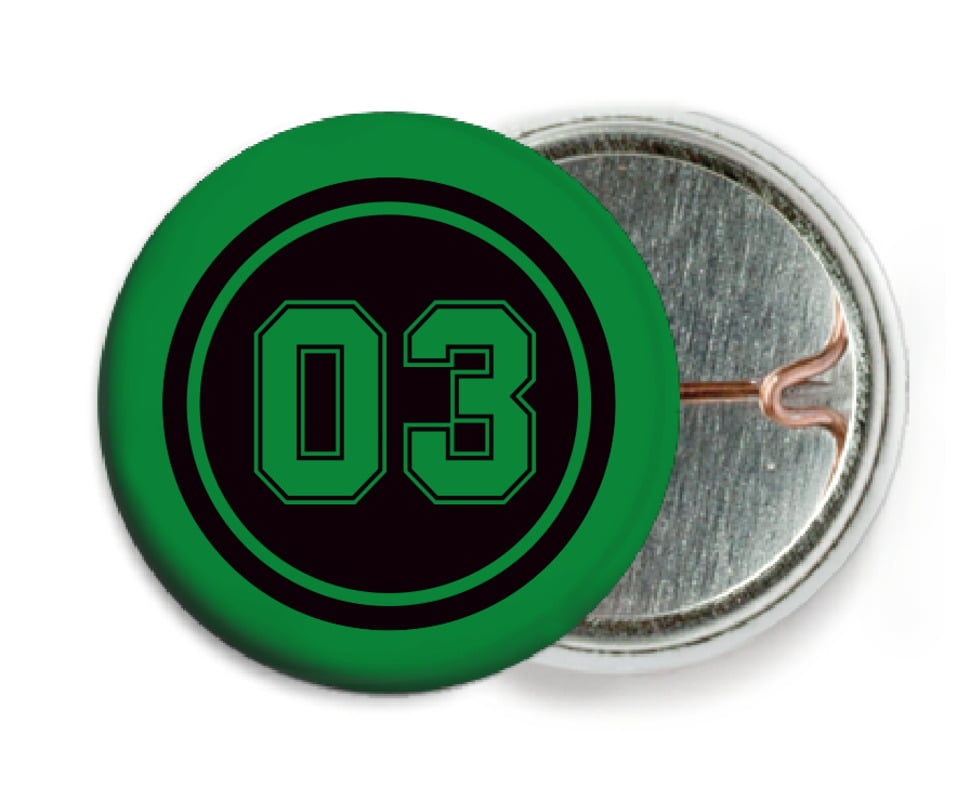 custom pin back buttons - black & green - basketball (set of 6)
