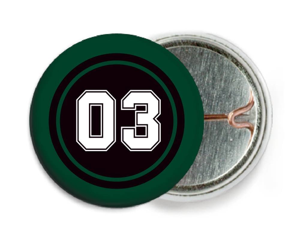 custom pin back buttons - black & forest - basketball (set of 6)