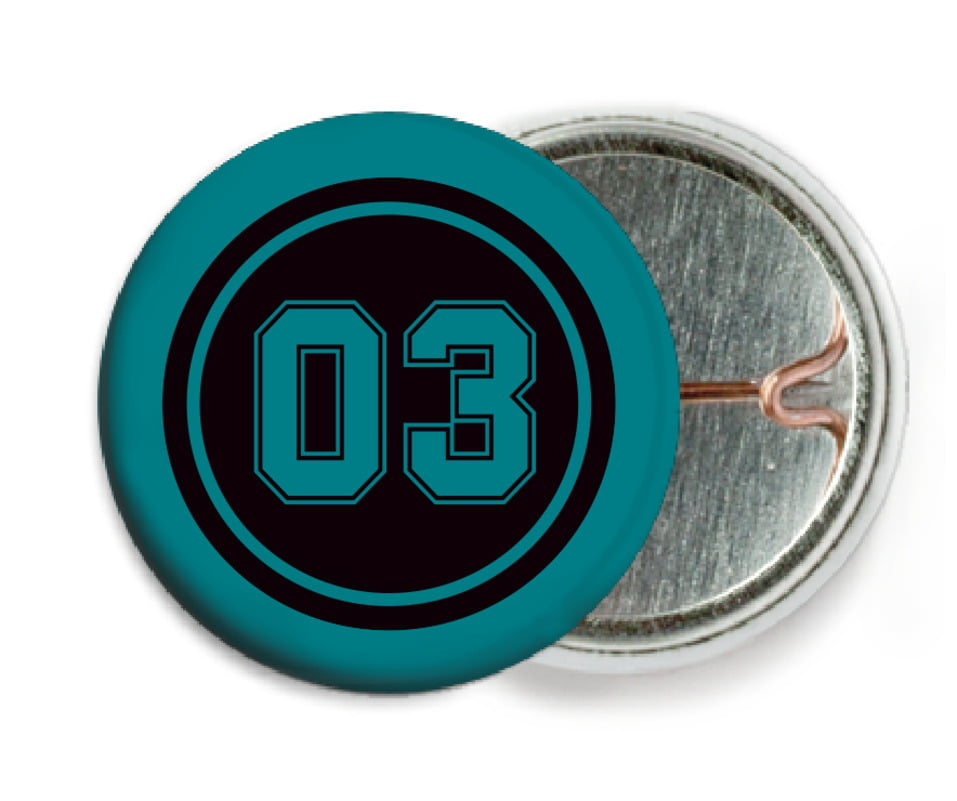 custom pin back buttons - black & teal - basketball (set of 6)