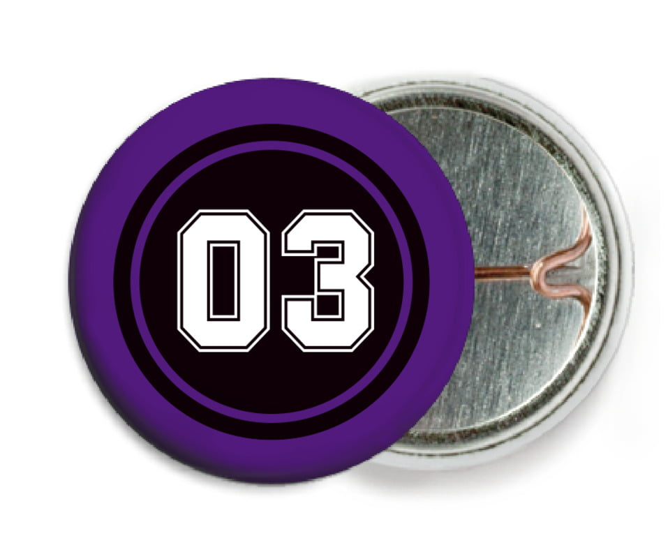 custom pin back buttons - black & purple - basketball (set of 6)