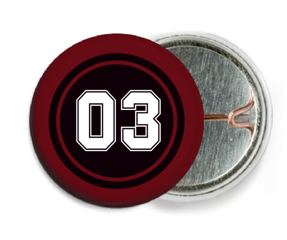 custom pin back buttons - black & maroon - basketball (set of 6)