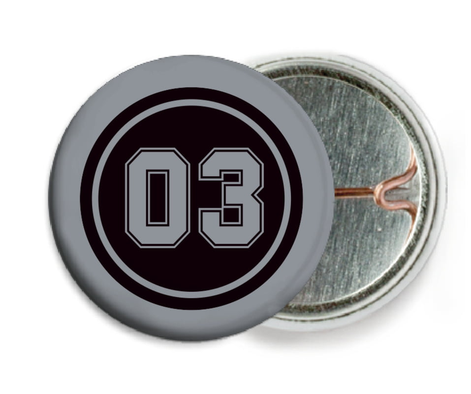 custom pin back buttons - black & silver - basketball (set of 6)