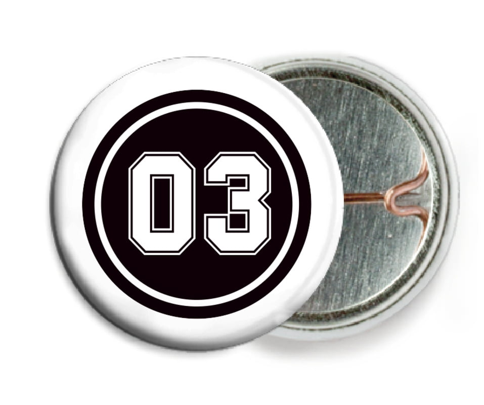 custom pin back buttons - black & white - basketball (set of 6)