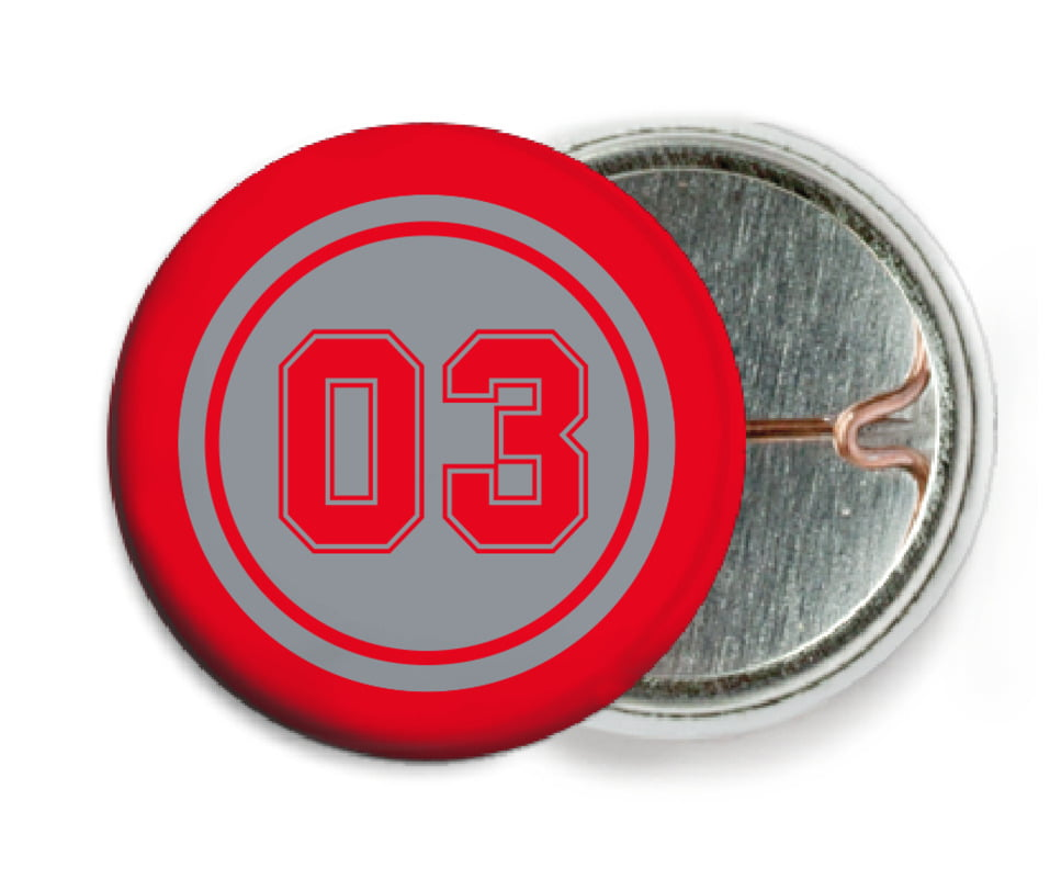 custom pin back buttons - silver & red - basketball (set of 6)