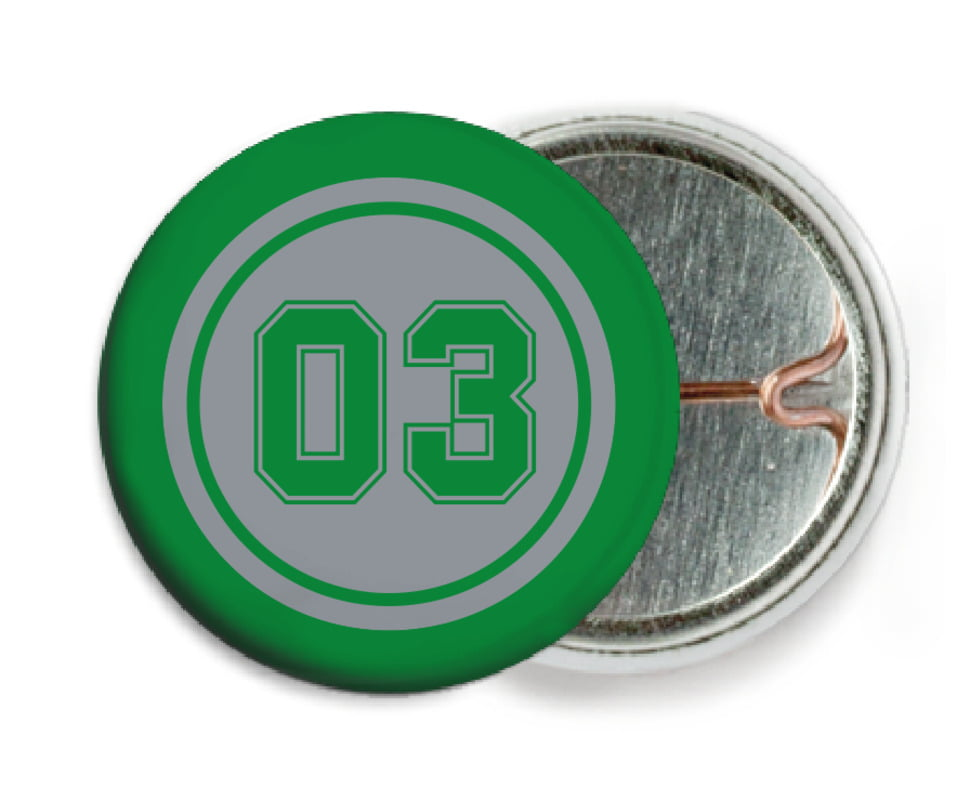 custom pin back buttons - silver & green - basketball (set of 6)