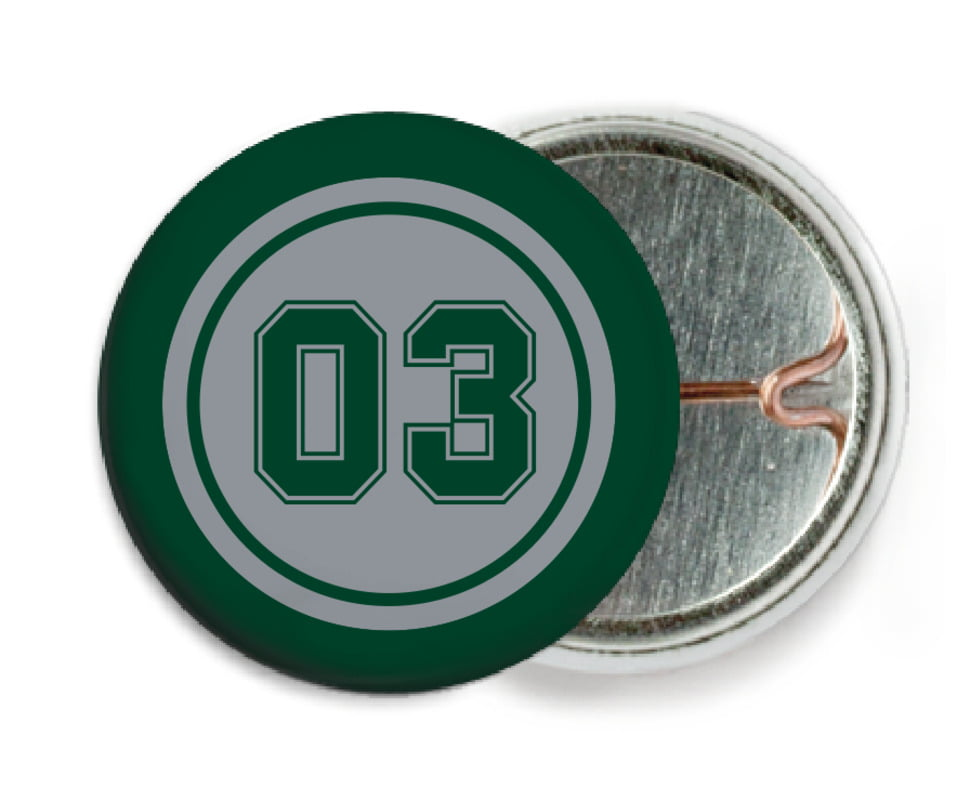 custom pin back buttons - silver & forest - basketball (set of 6)