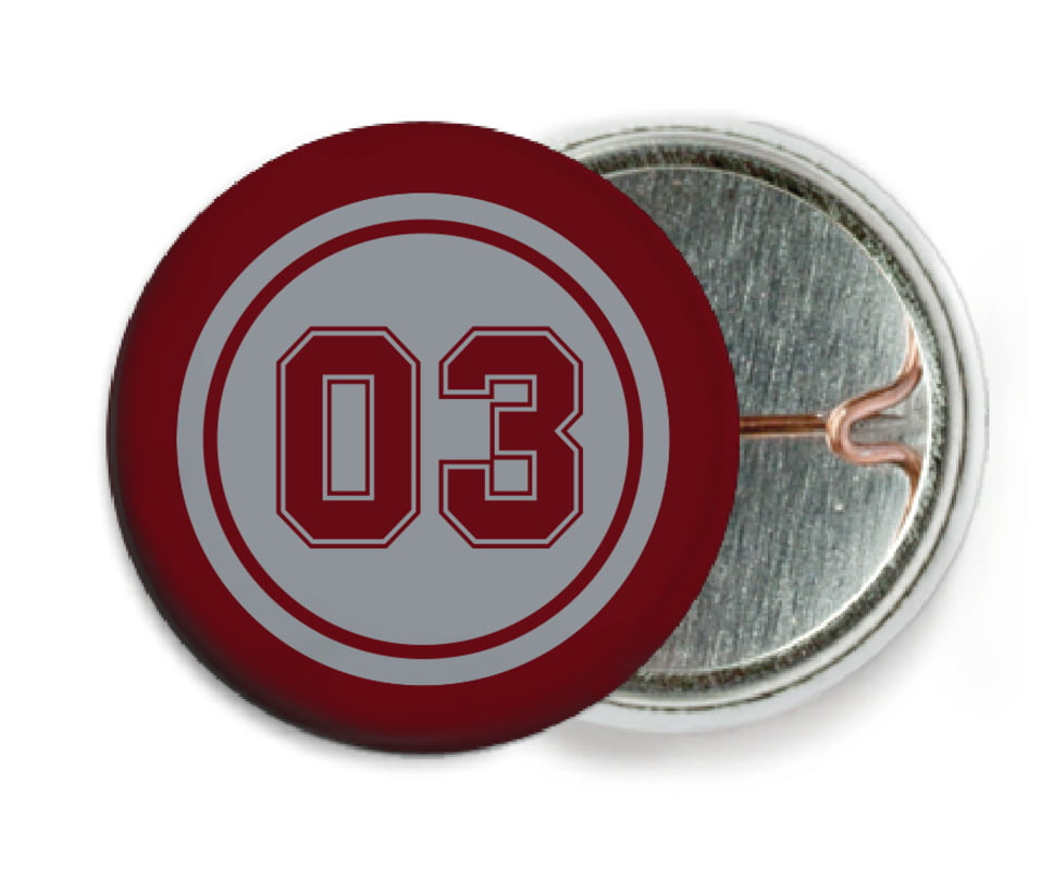 custom pin back buttons - silver & maroon - basketball (set of 6)