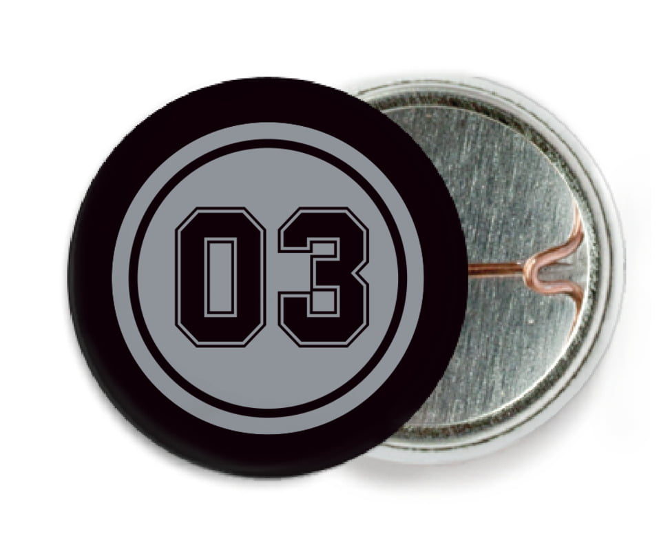 custom pin back buttons - silver & black - basketball (set of 6)