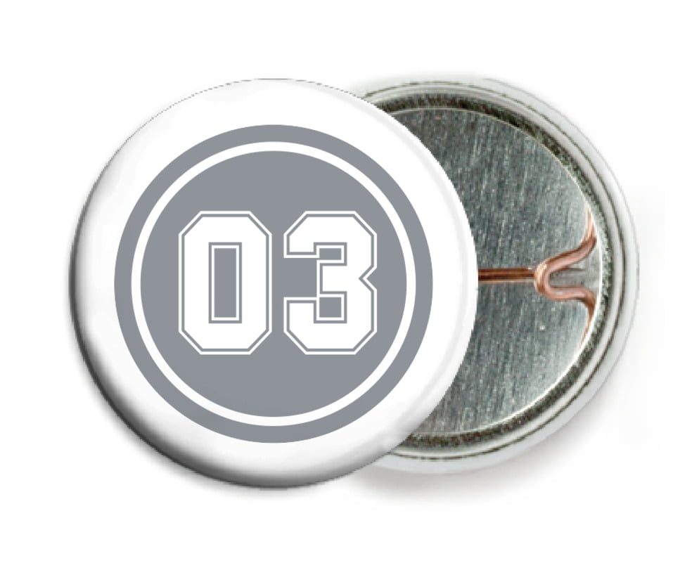 custom pin back buttons - silver & white - basketball (set of 6)