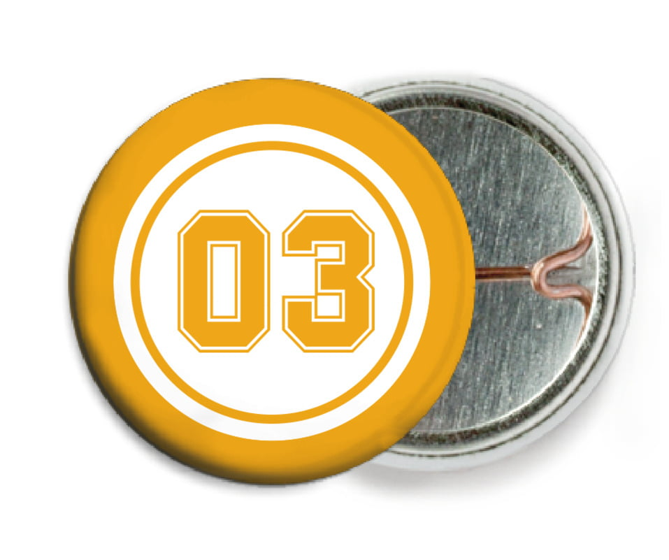 custom pin back buttons - white & gold - basketball (set of 6)
