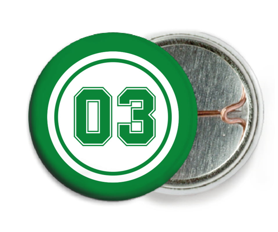 custom pin back buttons - white & green - basketball (set of 6)