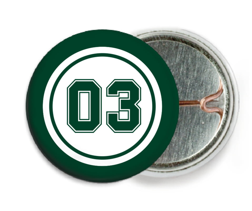 custom pin back buttons - white & forest - basketball (set of 6)