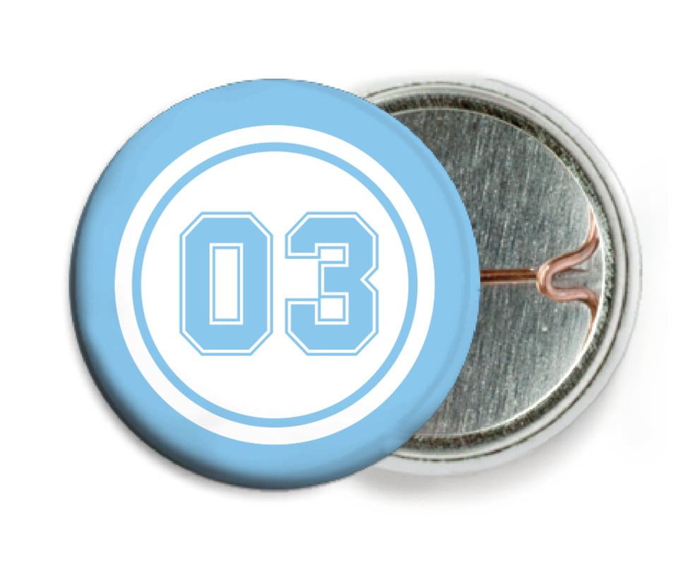 custom pin back buttons - white & light blue - basketball (set of 6)