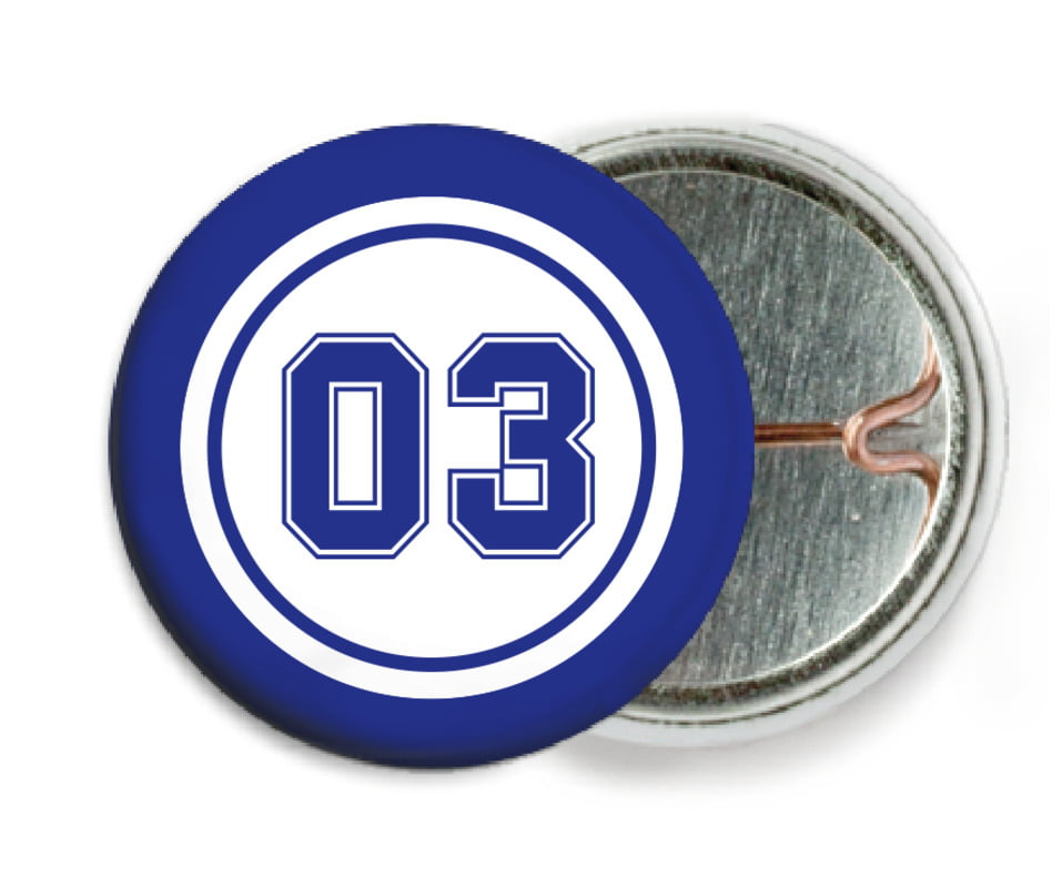 custom pin back buttons - white & royal - basketball (set of 6)
