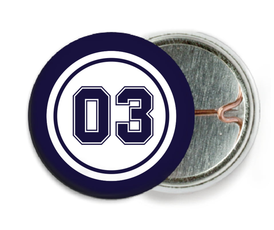 custom pin back buttons - white & navy - basketball (set of 6)