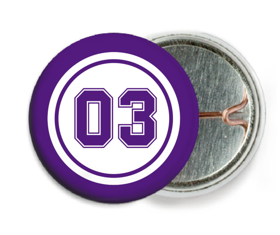 custom pin back buttons - white & purple - basketball (set of 6)